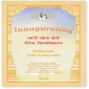 Inaugurating Maharishi Vedic University